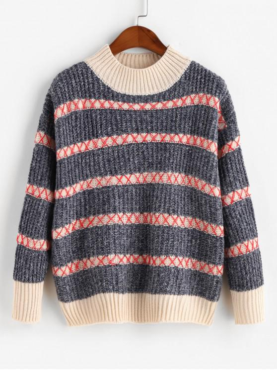 trendy Mock Neck Drop Shoulder Heathered Stripes Sweater - BLUE GRAY ONE SIZE
