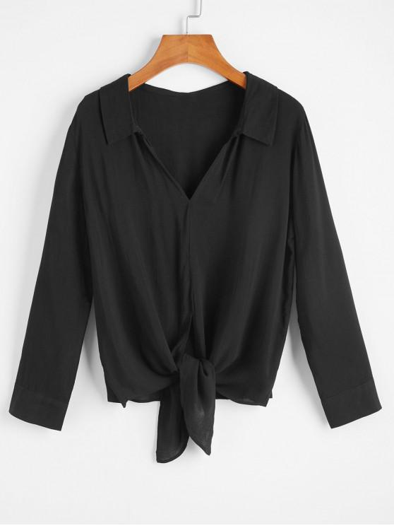 best Self Tie V Neck Blouse - BLACK XL
