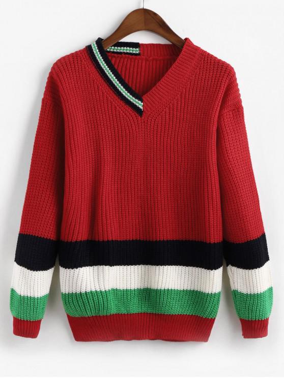 fashion Drop Shoulder Colorblock Stripes V Neck Sweater - RED ONE SIZE
