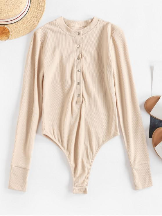trendy Snap Button Solid High Cut Bodysuit - LIGHT KHAKI L
