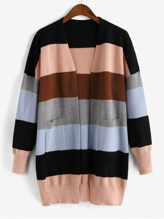 outfit Open Front Dual Pocket Colorblock Cardigan - MULTI ONE SIZE
