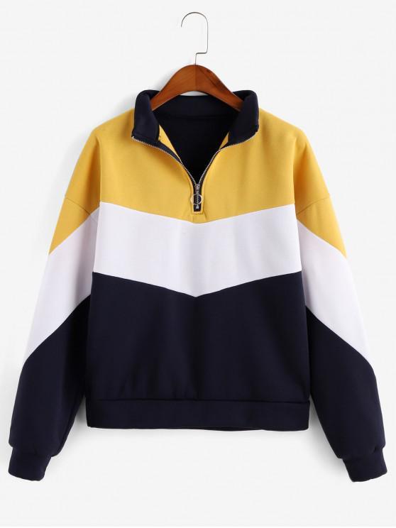 women's Color-blocking Pull Ring Zip Fleece Lined Sweatshirt - DEEP BLUE M