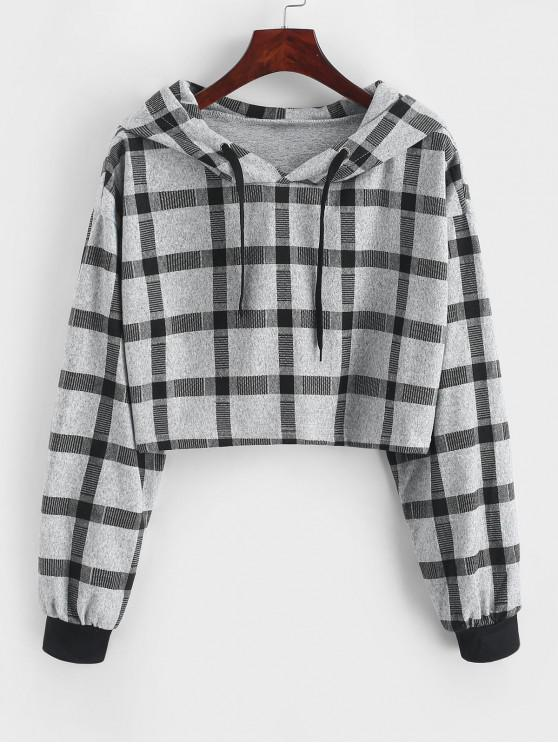 trendy Drop Shoulder Plaid Cropped Hoodie - GRAY L