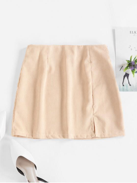 womens Slit Solid Corduroy A Line Skirt - LIGHT KHAKI S