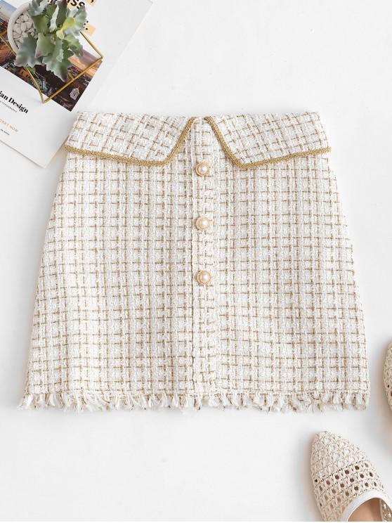 women's Metallic Thread Frayed Faux Pearl Button Mini Skirt - WHITE L