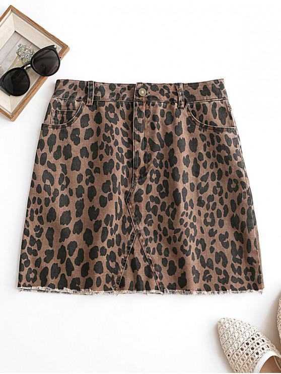fashion Leopard Pocket Frayed Hem Skirt - COFFEE XL