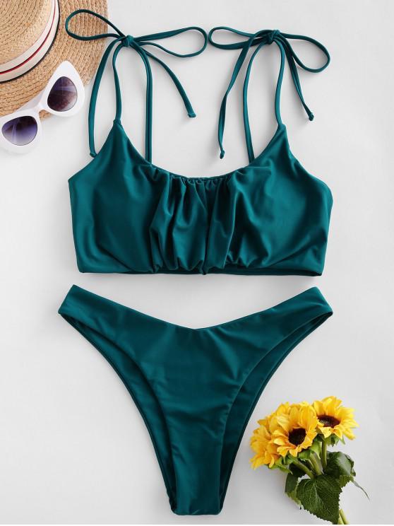 shops ZAFUL Gathered Tie Shoulder High Leg Bikini Swimsuit - PEACOCK BLUE L