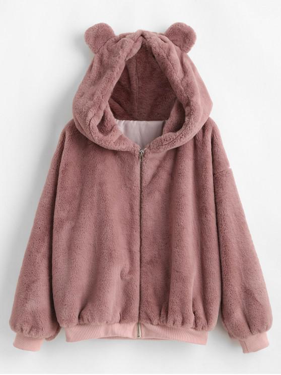 buy ZAFUL Bear Ear Drop Shoulder Faux Fur Coat - LIPSTICK PINK S