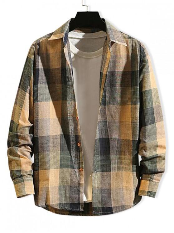 Checkered Print Langarm-Knopf Slim Fit Shirt - Multi-B L