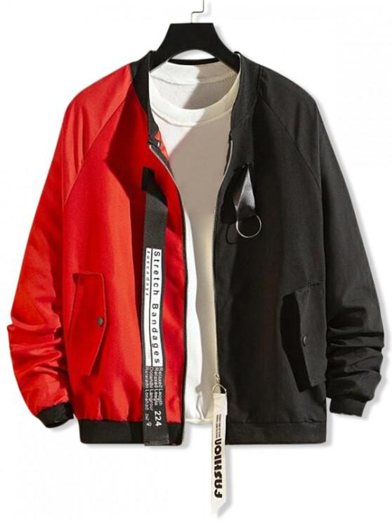 outfit Ring Ribbon Letter Graphic Two Tone Spliced Jacket - RED L