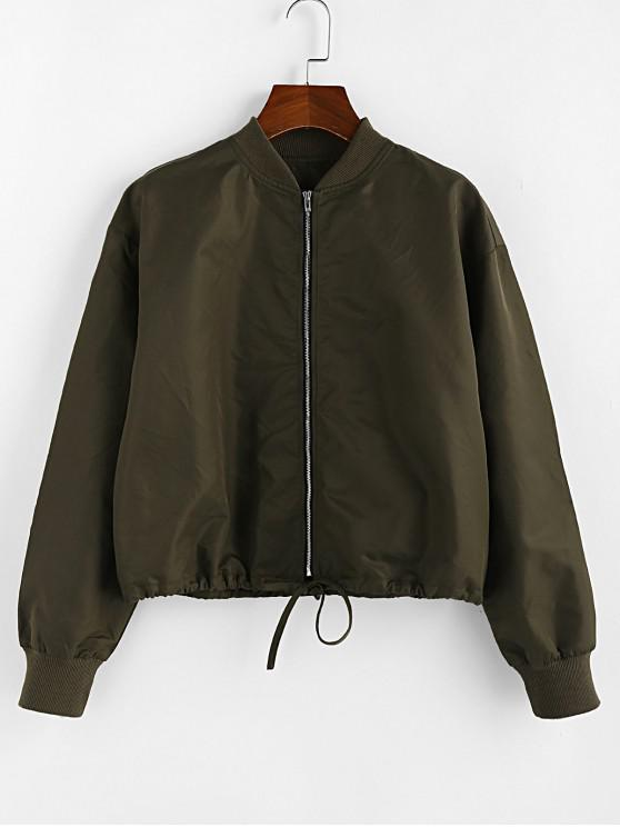 women ZAFUL Drop Shoulder Drawstring Hem Zipper Jacket - CAMOUFLAGE GREEN M