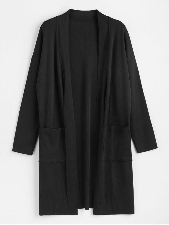 ladies Self Tie Slit Longline Cardigan - BLACK XL