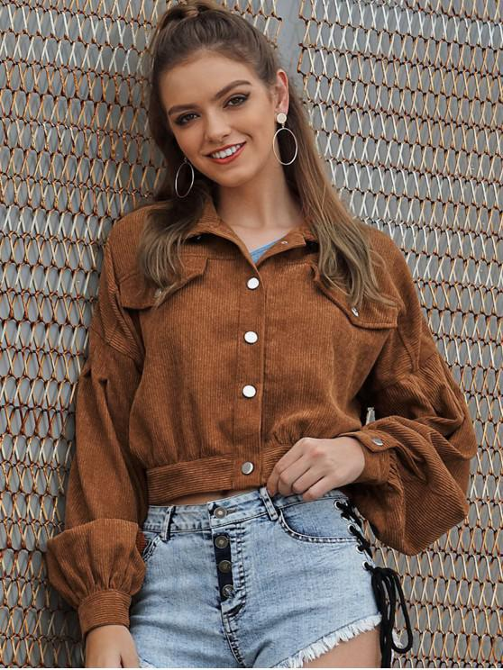 lady Faux Pockets Button Up Corduroy Jacket - BROWN M