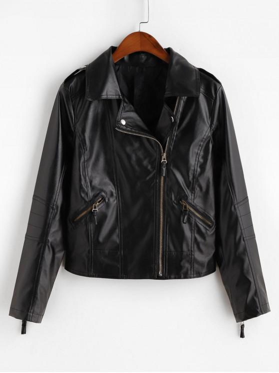 fashion Asymmetric Zipper Faux Leather Pockets Jacket - BLACK XS