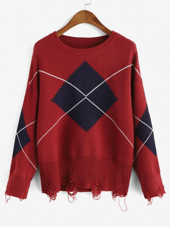 fashion Crew Neck Distressed Geometric Graphic Sweater - FIREBRICK ONE SIZE