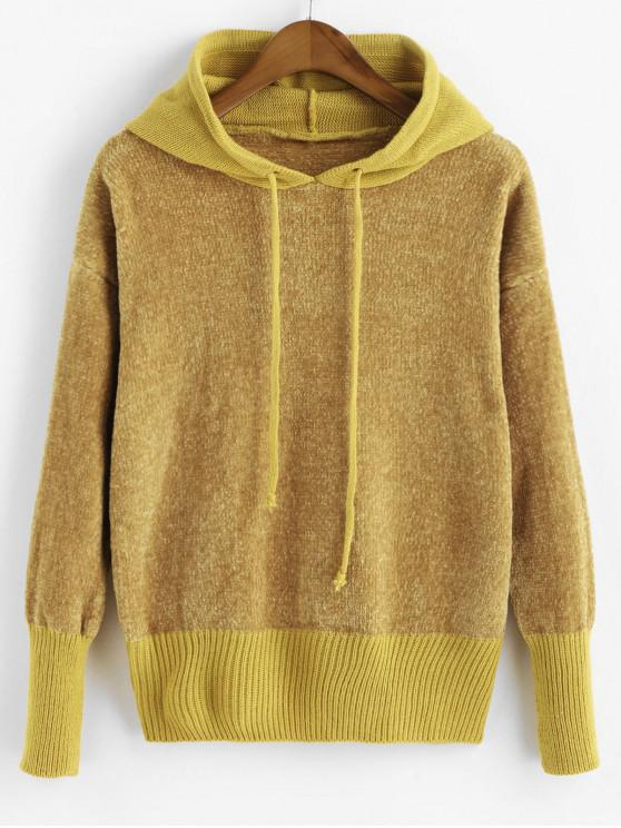 lady Drawstring Hooded Chenille Sweater - YELLOW ONE SIZE