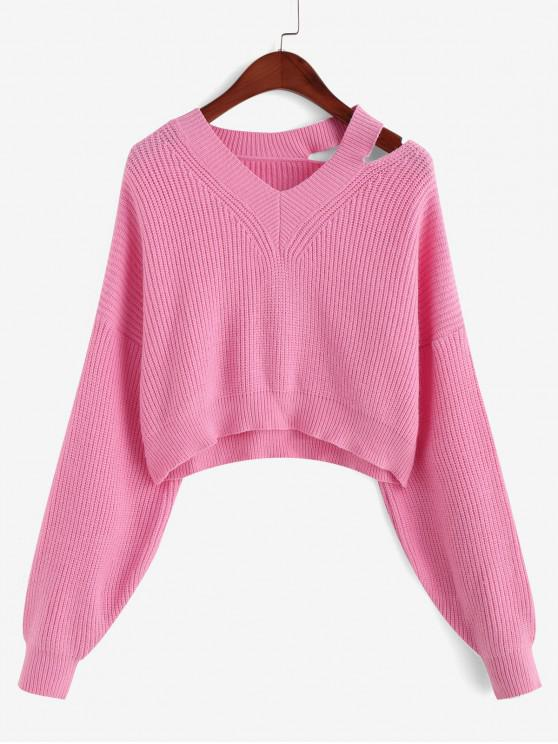 women Drop Shoulder V Neck Cut Out Sweater - PINK ONE SIZE
