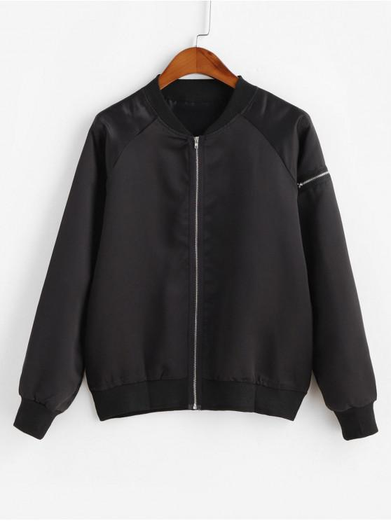 hot Zipper Embellished Zip Up Bomber Jacket - BLACK S