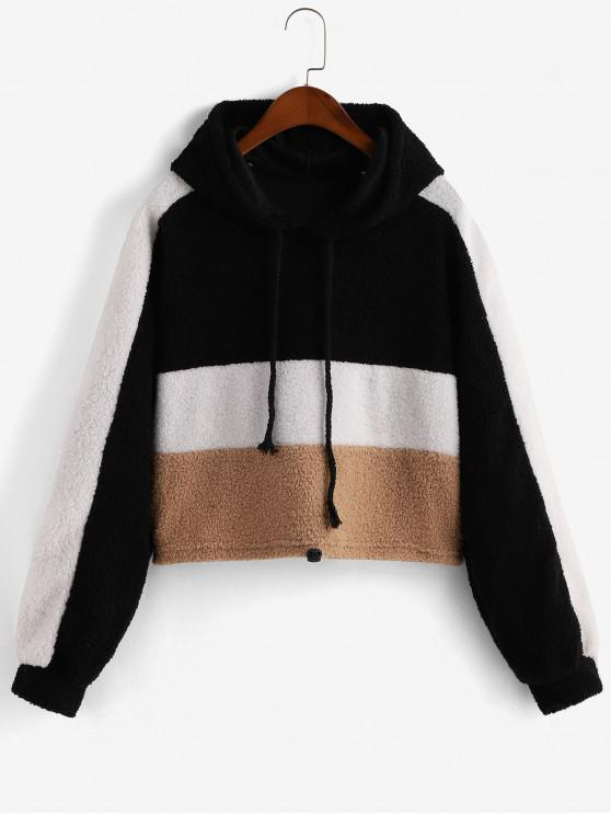 outfit Drawstring Colorblock Teddy Hoodie - MULTI S