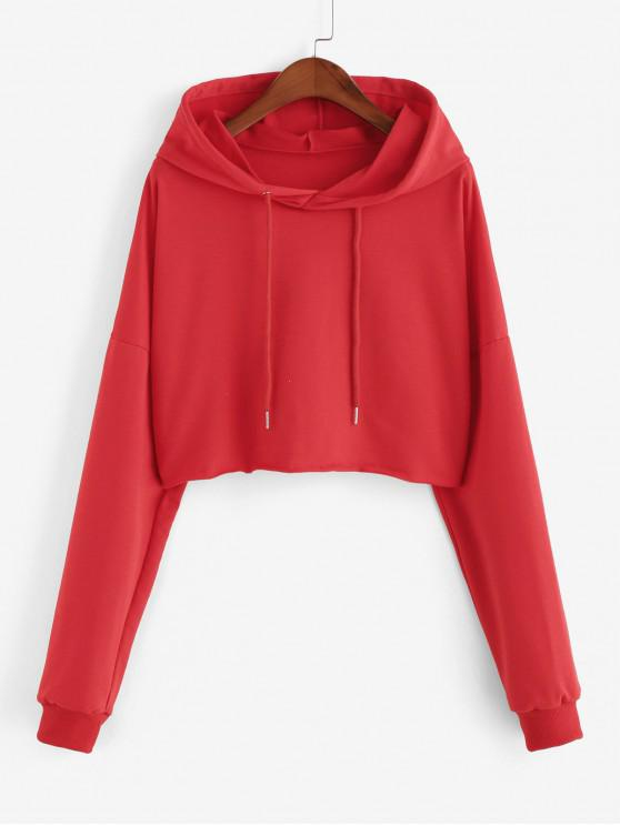 trendy Raw Cut Drop Shoulder Drawstring Plain Hoodie - RED S