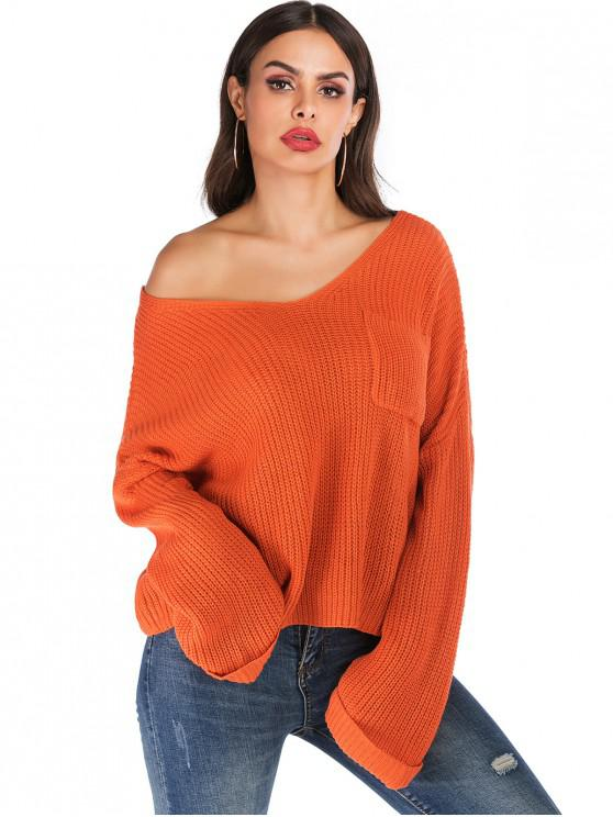 shop V Neck Cuffed Sleeves Solid Pocket Sweater - ORANGE XL