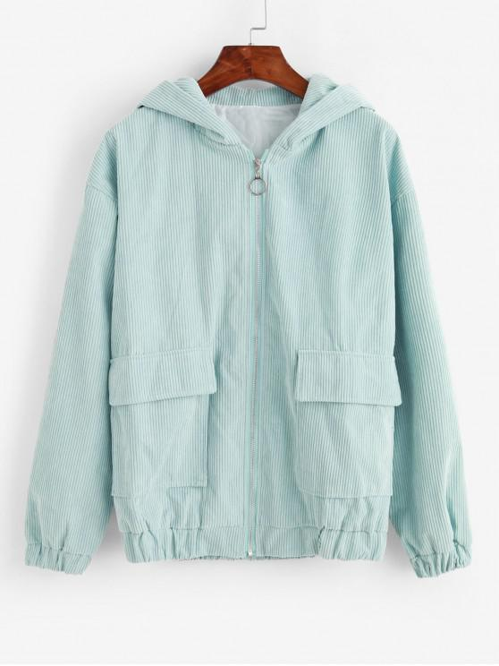 trendy Hooded Corduroy Flap Pocket Zip Up Jacket - PALE BLUE LILY M