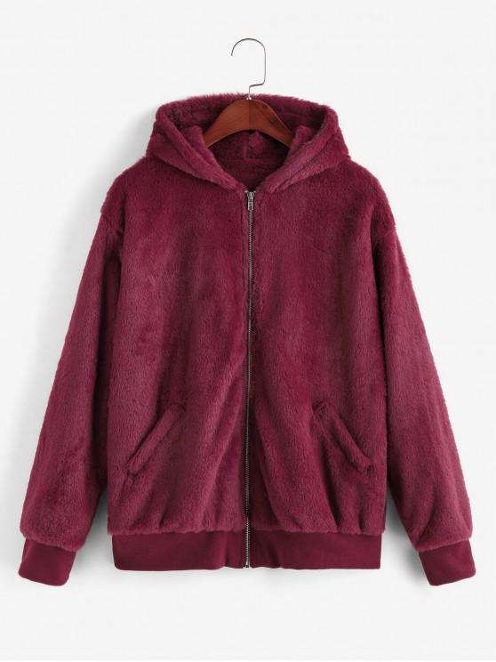 trendy Hooded Faux Fur Zip Pocket Fluffy Jacket - RED WINE M