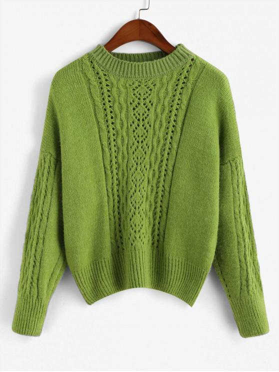 latest Pullover Pointelle Knit Crew Neck Cable Knit Sweater - YELLOW GREEN ONE SIZE