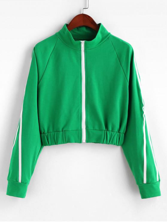 affordable Zip Up Side Striped Crop Jacket - GREEN S