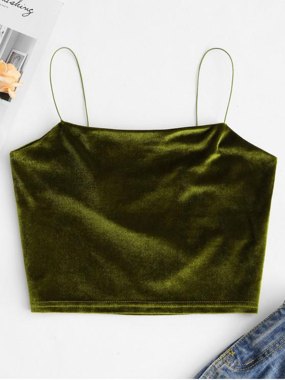 ladies Velvet Crop Plain Camisole - GREEN XL