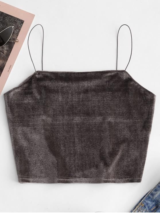 fashion Velvet Crop Plain Camisole - CARBON GRAY L