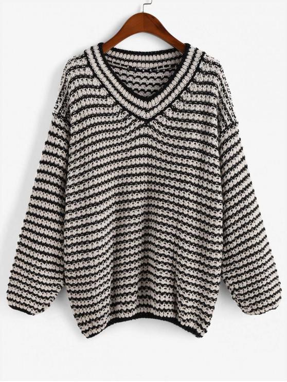 chic Drop Shoulder V Neck Colorblock Sweater - MULTI ONE SIZE