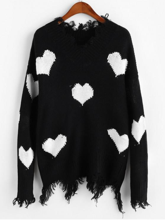 women Heart Graphic V Neck Ripped Sweater - WHITE XL