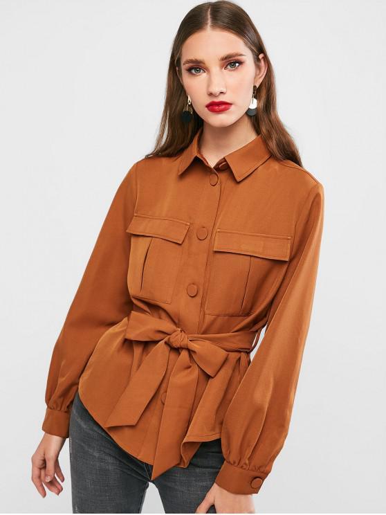 fashion ZAFUL Belted Shirt Jacket - DEEP COFFEE M