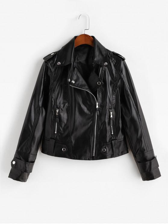 best Asymmetric Zipper Buttons Faux Leather Jacket - BLACK XS