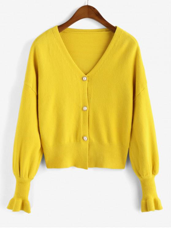 buy Loose Pearly Button Front V Neck Cardigan - YELLOW ONE SIZE
