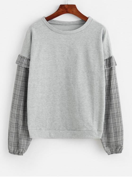 latest Plaid Ruffles Crew Neck Sweatshirt - GRAY S