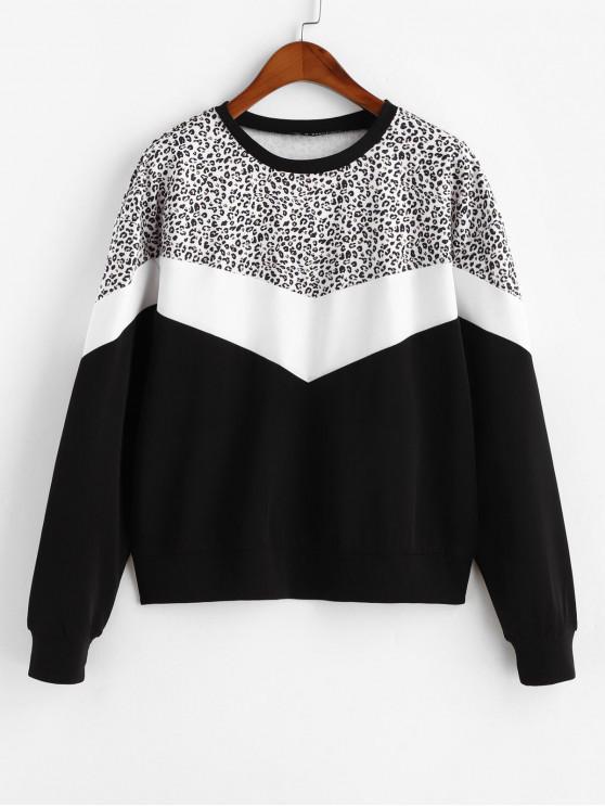 Sweat-shirt Contrasté Léopard Imprimé à Col Rond - Noir XL