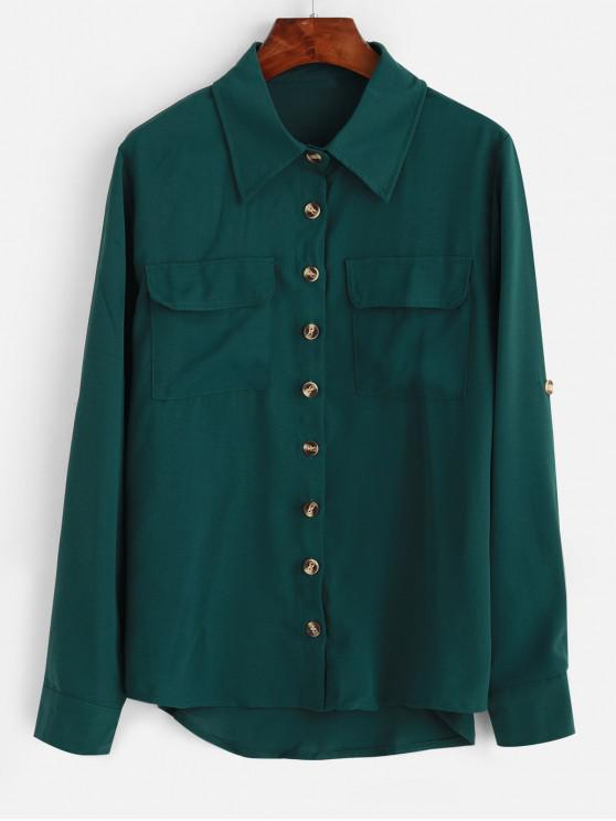 women's Rolled Tab Sleeves Pockets High Low Shirt - GREEN S