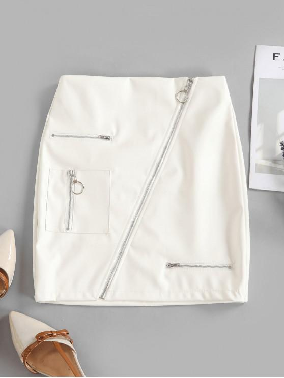 trendy Asymmetric Zipper Solid Faux Leather Sheath Skirt - WHITE M