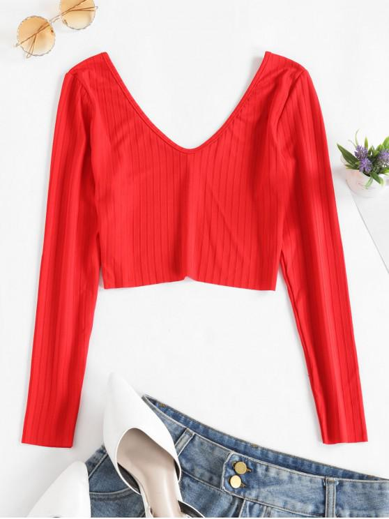 women V Neck Ribbed Solid Crop Tee - RED XL