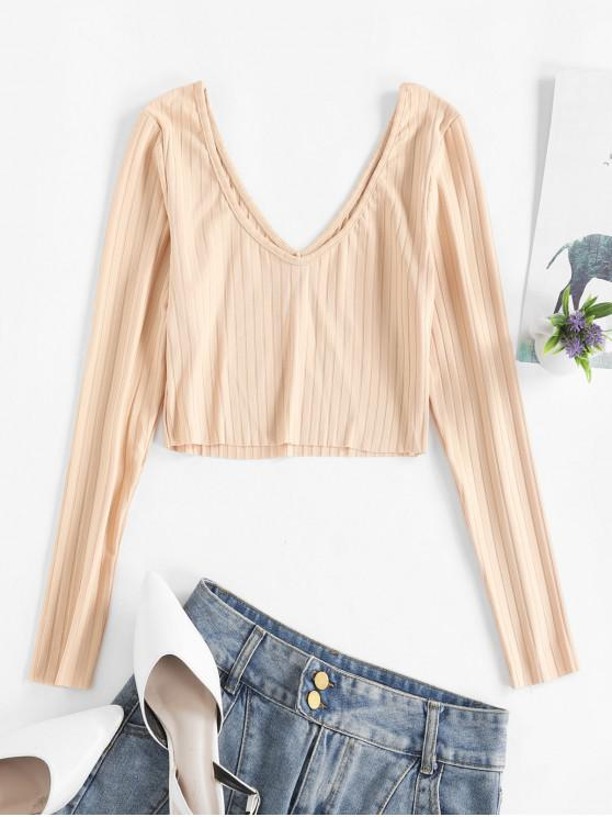 hot V Neck Ribbed Solid Crop Tee - APRICOT L