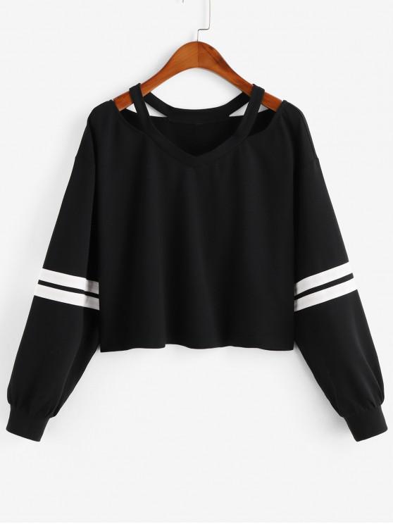 affordable ZAFUL Stripe Cold Shoulder Sweatshirt - BLACK S