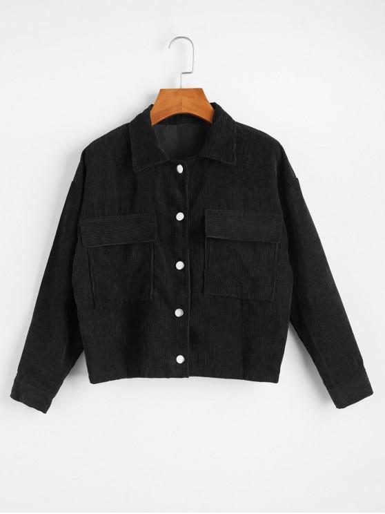 best Single Breasted Corduroy Flap Pocket Jacket - BLACK ONE SIZE
