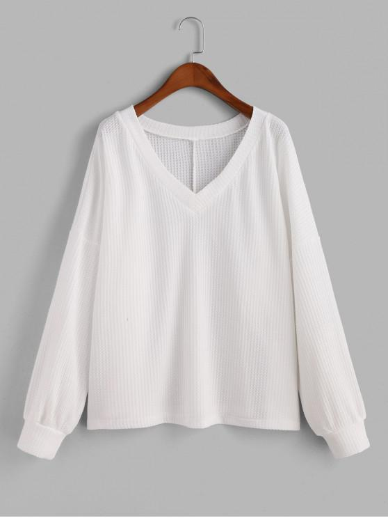 trendy V Neck Solid Long Sleeves Tee - WHITE S