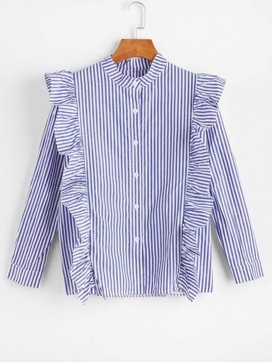 Рубашка С длинными рукавами Принт тонкой полоски - Синий L
