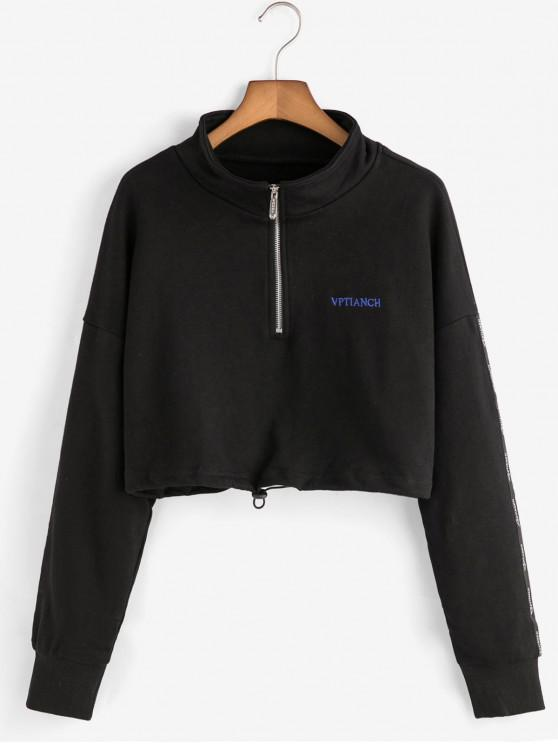Sweat-shirt Lettre Brodée à Demi-Zip - Noir S