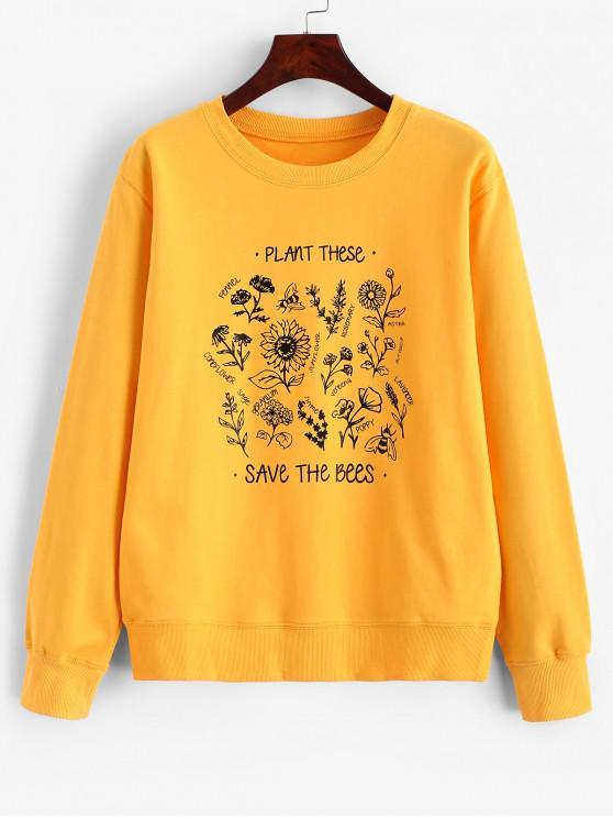 online Flower Graphic French Terry Ribbed Hem Sweatshirt - SAFFRON M