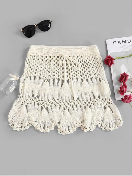 latest Scalloped Edge Crochet Skirt - WHITE S