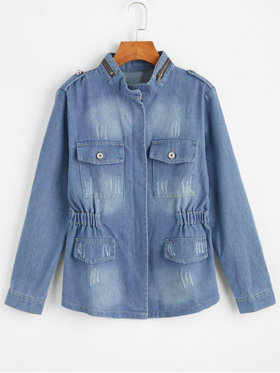 women Zip Up Denim Jacket - DENIM BLUE L